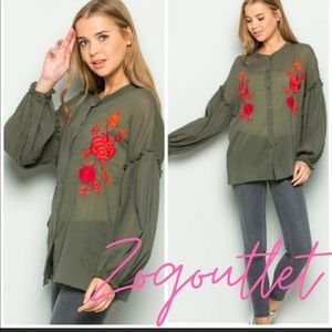 Embroidered Bohemian Style Top/Blouse